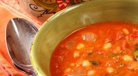 Thumbnail image for Chickpeas and Navy Beans in Spicy Tomato Sauce (Indian)