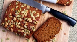 Thumbnail image for Organic EVOO Pumpkin Bread with Pumpkin Seed Topping