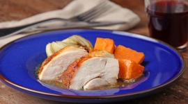 Thumbnail image for The Perfectionist Painter Shares: Oven Roasted Maple Chicken with Sweet Potatoes and Fennel