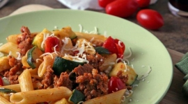 "Thumbnail image for ""Manland"" and Pasta with Chorizo, Zucchini and Tomatoes"