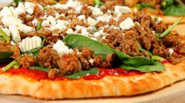 Thumbnail image for Pizza with Ground Lamb, Spinach and Roasted Red Pepper Sauce