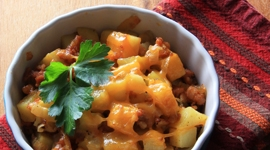 Thumbnail image for Potatoes with Mexican Chorizo & Muy Bueno Cookbook Giveaway