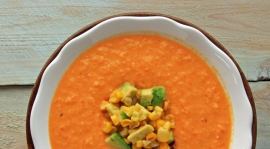Thumbnail image for Spicy Roasted Corn Soup with Bell Pepper and Tomatoes
