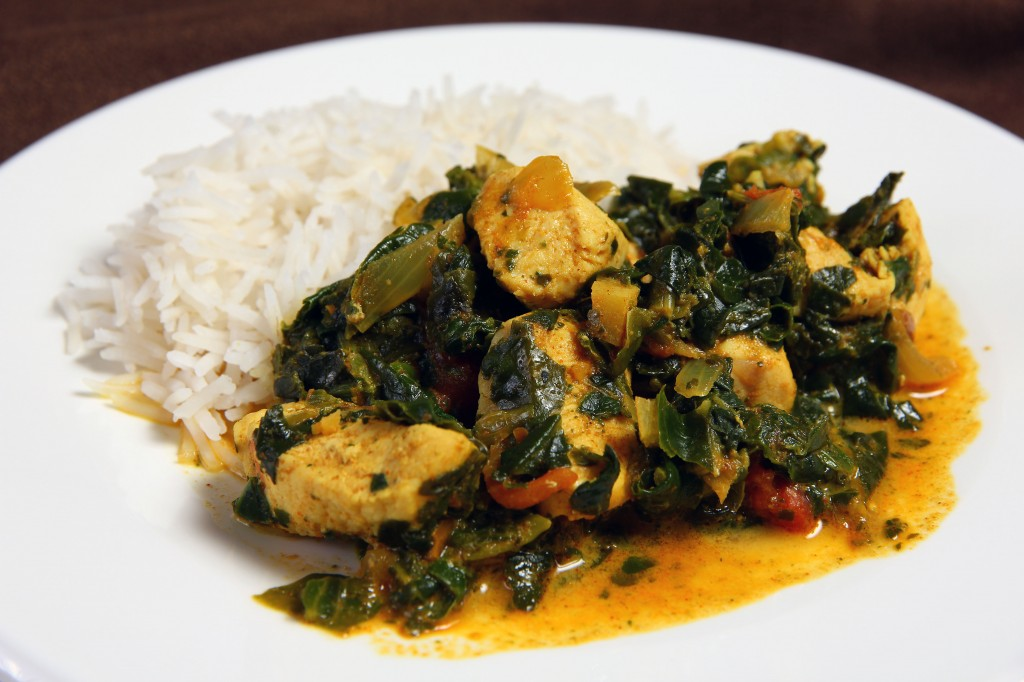 spinach indian spiced chicken with chickpeas and spinach spinach and ...