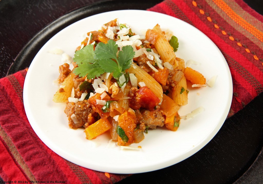 039 a 1024x716 Penne with Indian Spiced Lamb and Roasted Butternut Squash