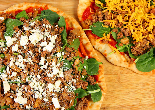 006+a5 Pizza with Ground Lamb, Spinach and Roasted Red Pepper Sauce