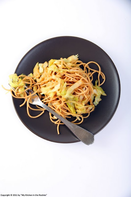 013+a6 Asian Style Sweet Chili Spaghetti with Cabbage