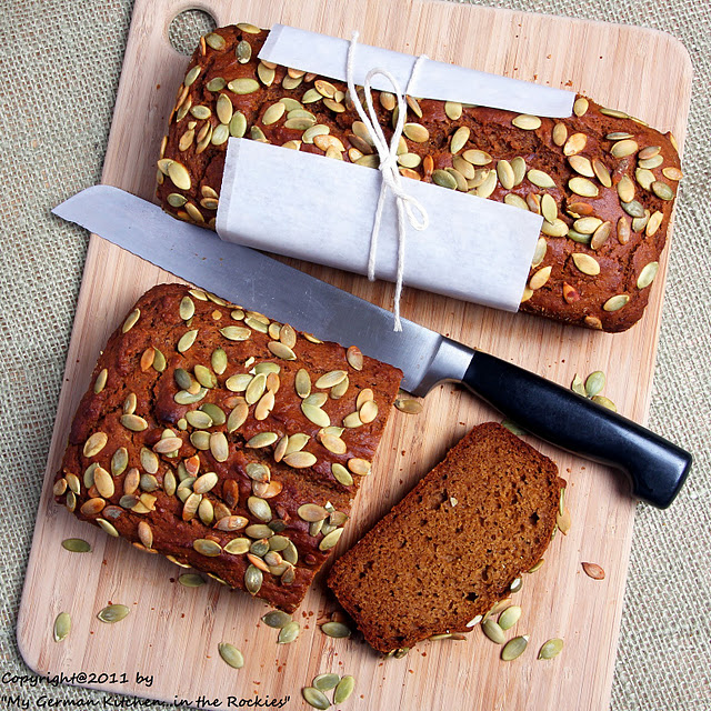 018+a+ +Copy Organic EVOO Pumpkin Bread with Pumpkin Seed Topping