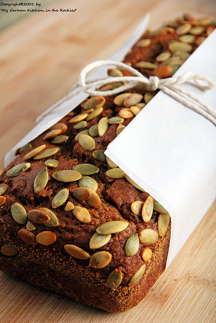 038+a Organic EVOO Pumpkin Bread with Pumpkin Seed Topping