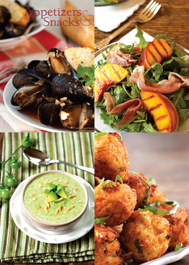 Chipotle steeped mussels; grilled Palisade peaches, Serrano ham, and rocket salad; green gazpacho; spaghetti squash fritters; pictures ©Michele Morris