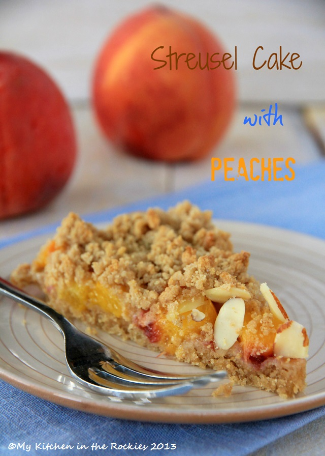 German Streusel Cake with Peaches