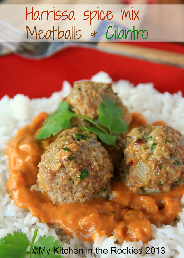 Harrissa Spice Mix Meatballs with Cilantro