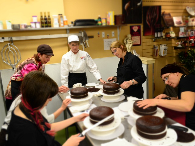 Cake decorating at Piece, Love & Chocolate